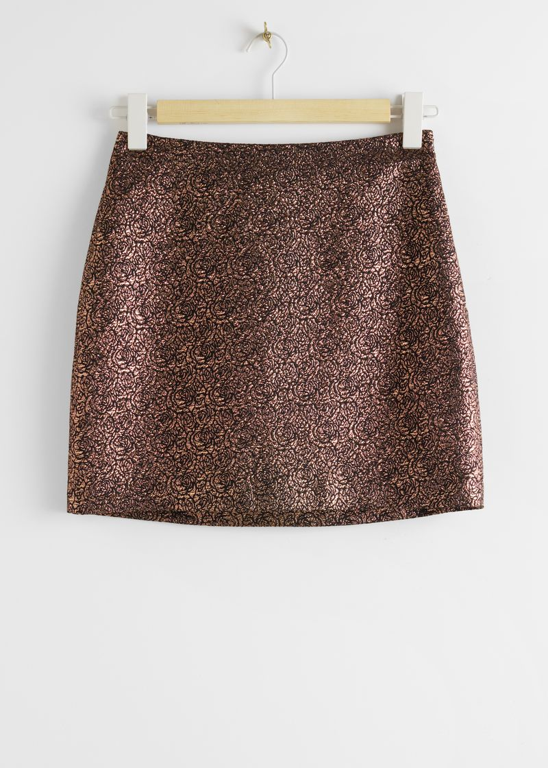 Metallic Rose Jacquard Mini Skirt