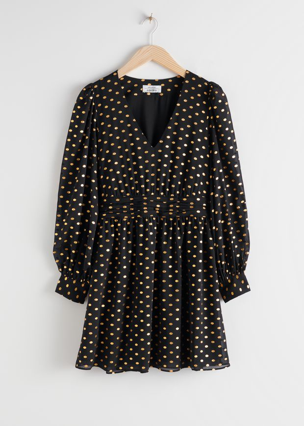 Metallic Dotted Gathered Mini Dress