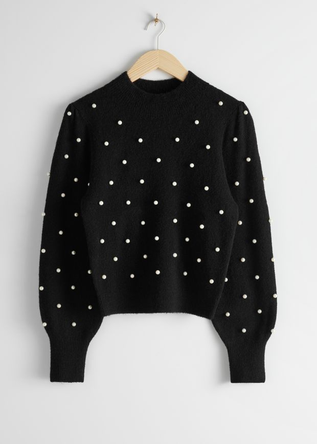 Pearl Dot Puff Sleeve Sweater