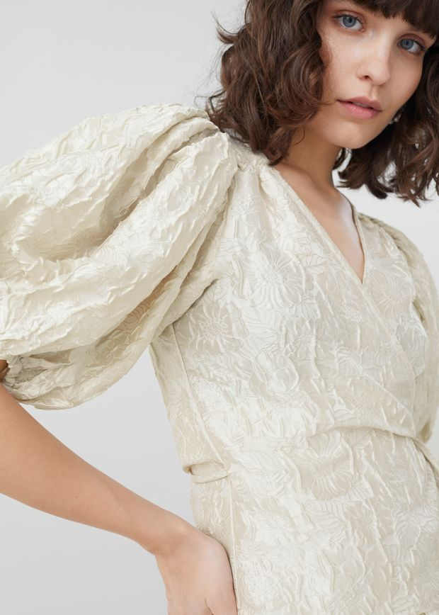 Jacquard Puff Sleeve Wrap Blouse