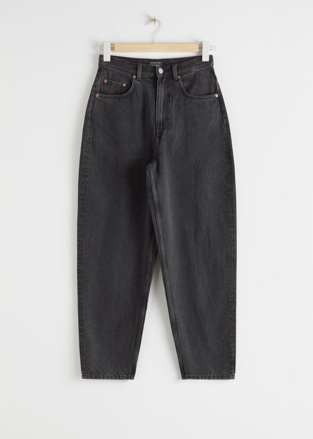Tapered Cropped Mid Waist Jeans