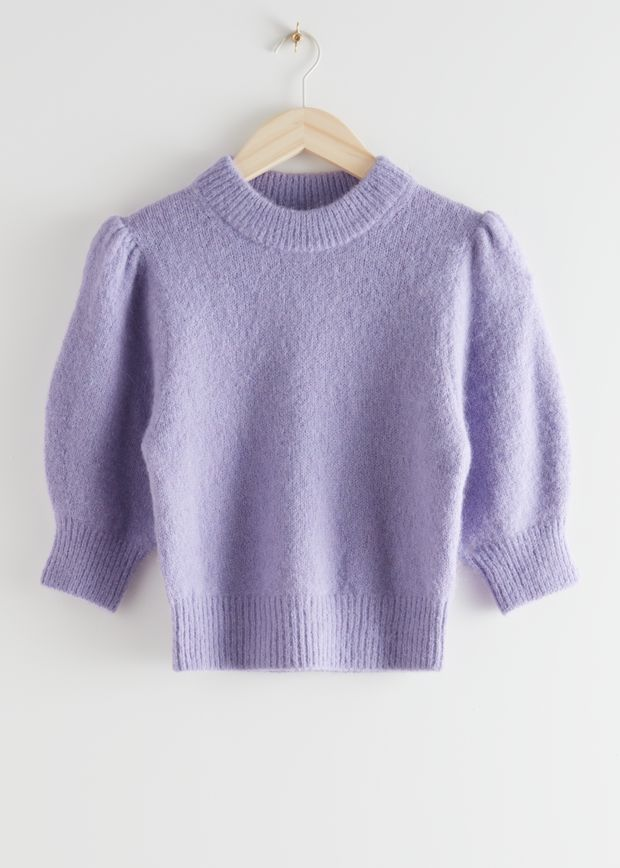 Alpaca Wool Blend Puff Sleeve Jumper