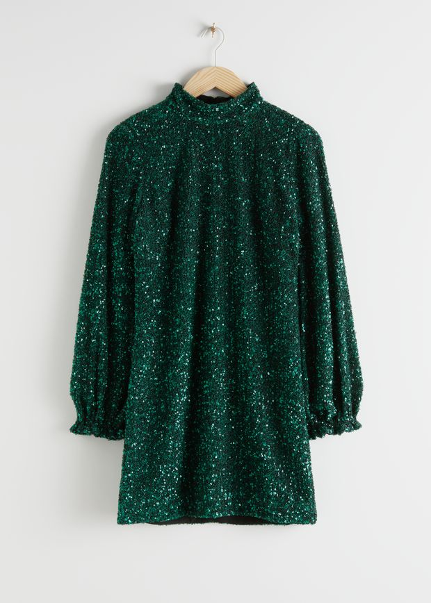 Balloon Sleeve Sequined Mini Dress