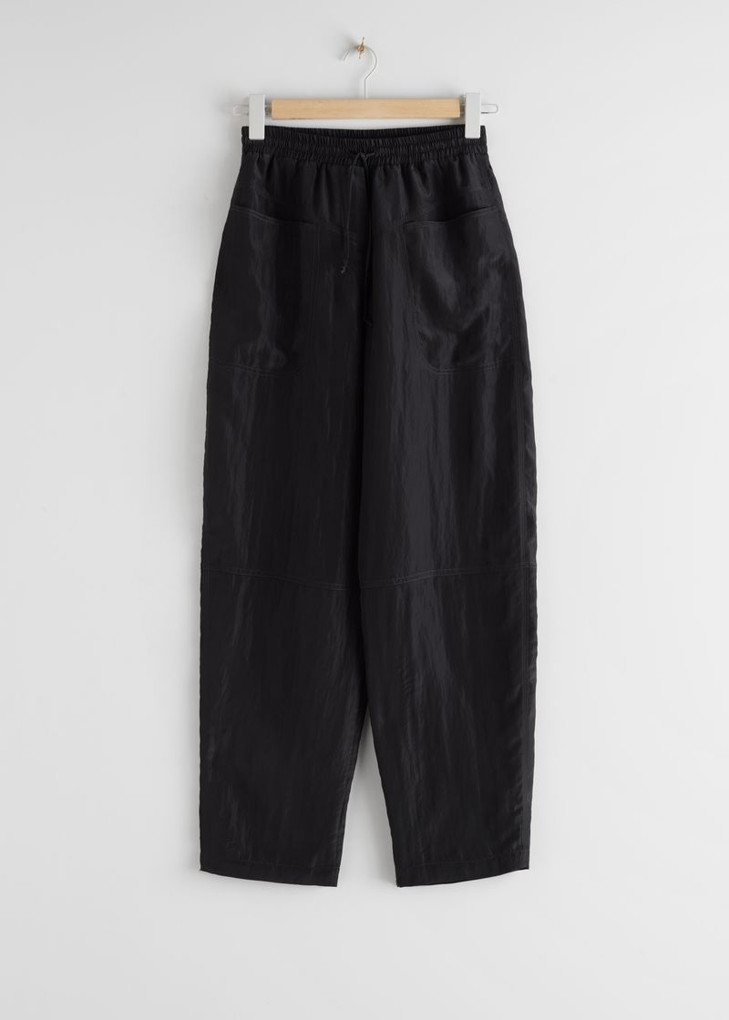 Nylon Wide Leg Drawstring Trousers