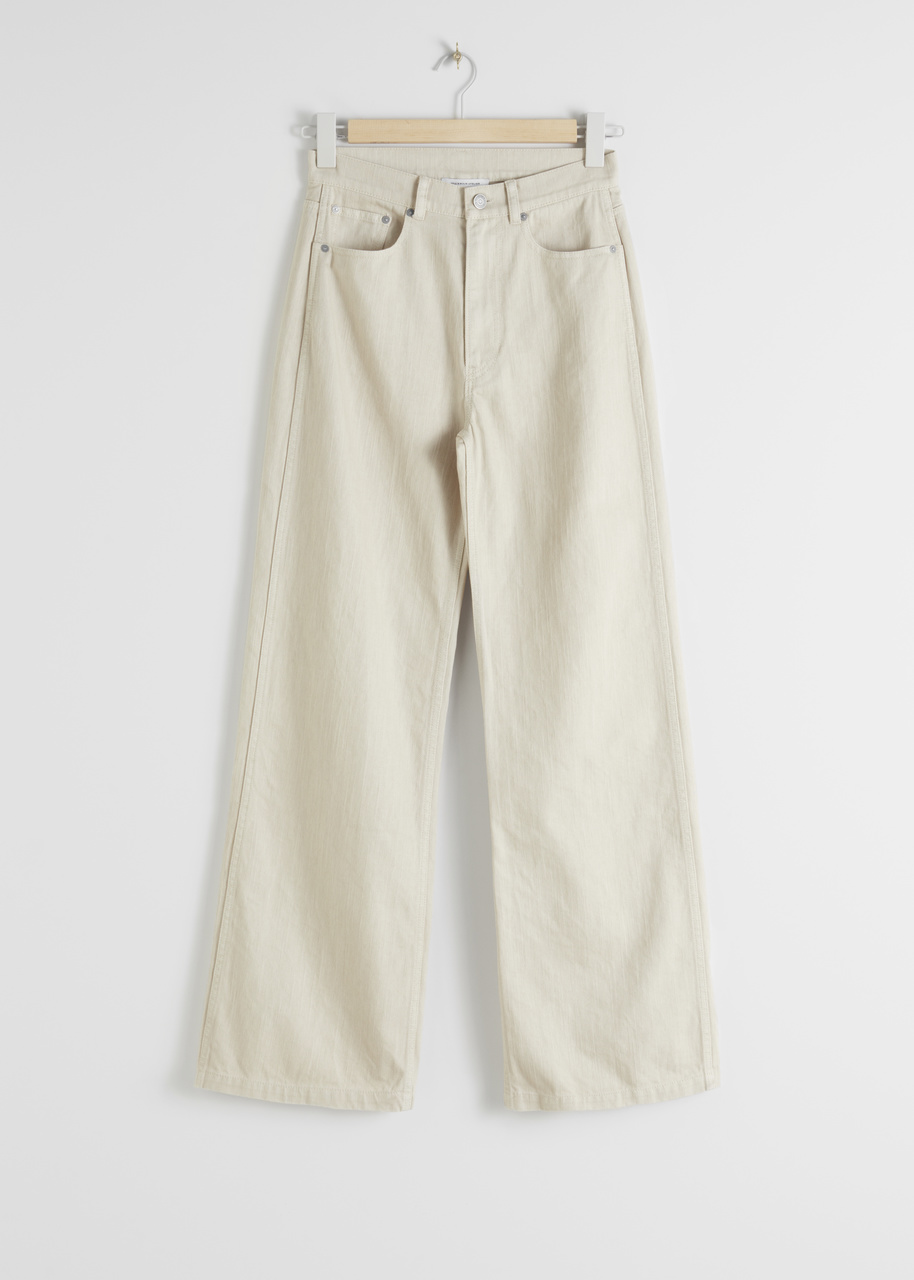 Wide Leg Woven Cotton Trousers