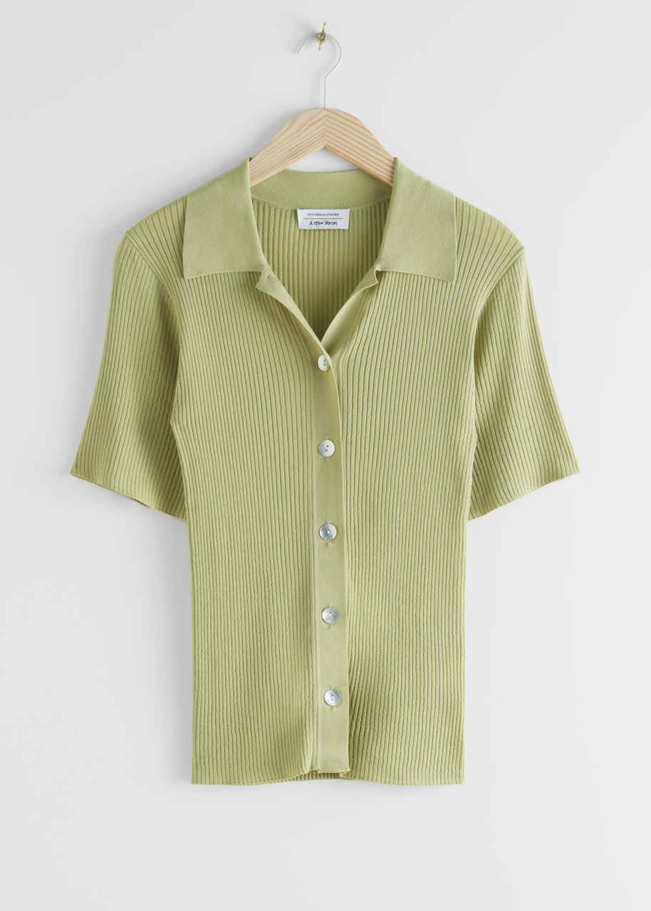 Fitted Button Up Ribbed Shirt