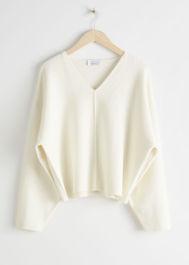 Wool Blend Cocoon Sleeve Knit Sweater