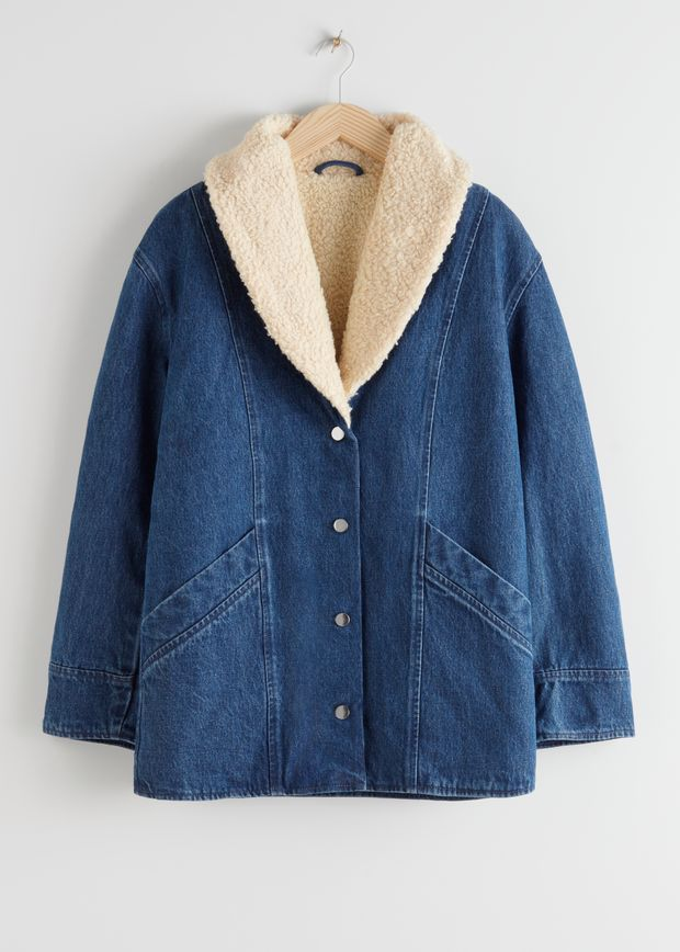 Organic Cotton Shearling Collar Denim Coat
