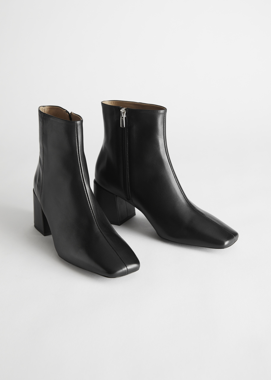 Leather Square Toe Heeled Boots