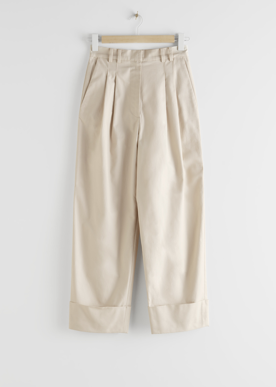 Relaxed High Waisted Cotton Trousers