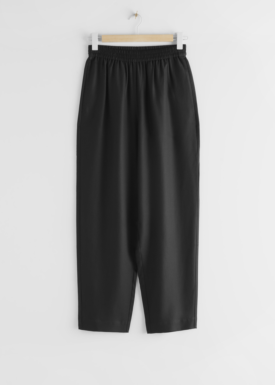 Relaxed Lyocell Drawstring Trousers