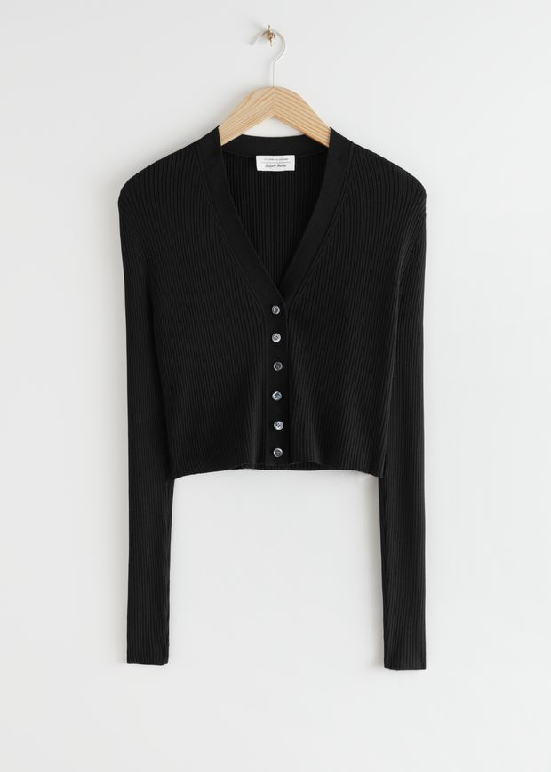 Cropped Ribbed Cardigan