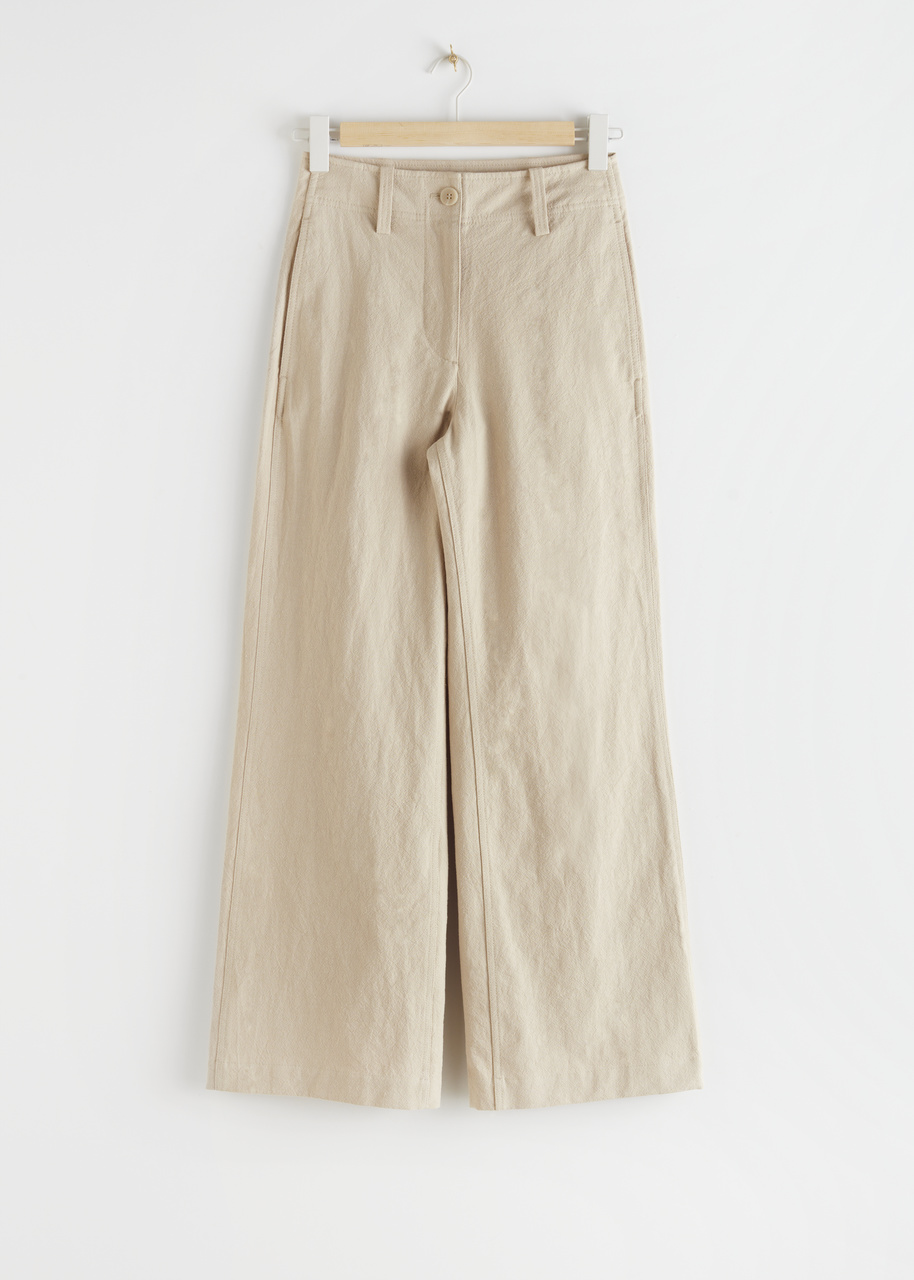 High Waisted Wide Leg Crepe Trousers