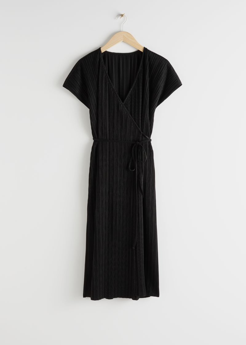 Plissé Pleated Midi Wrap Dress