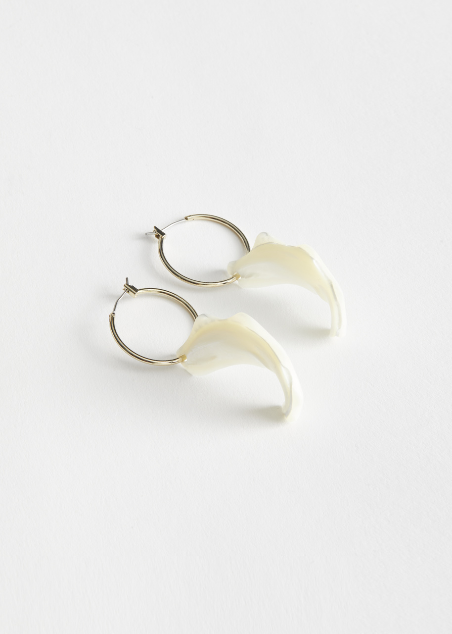 Organic Shell Pendant Hoop Earrings
