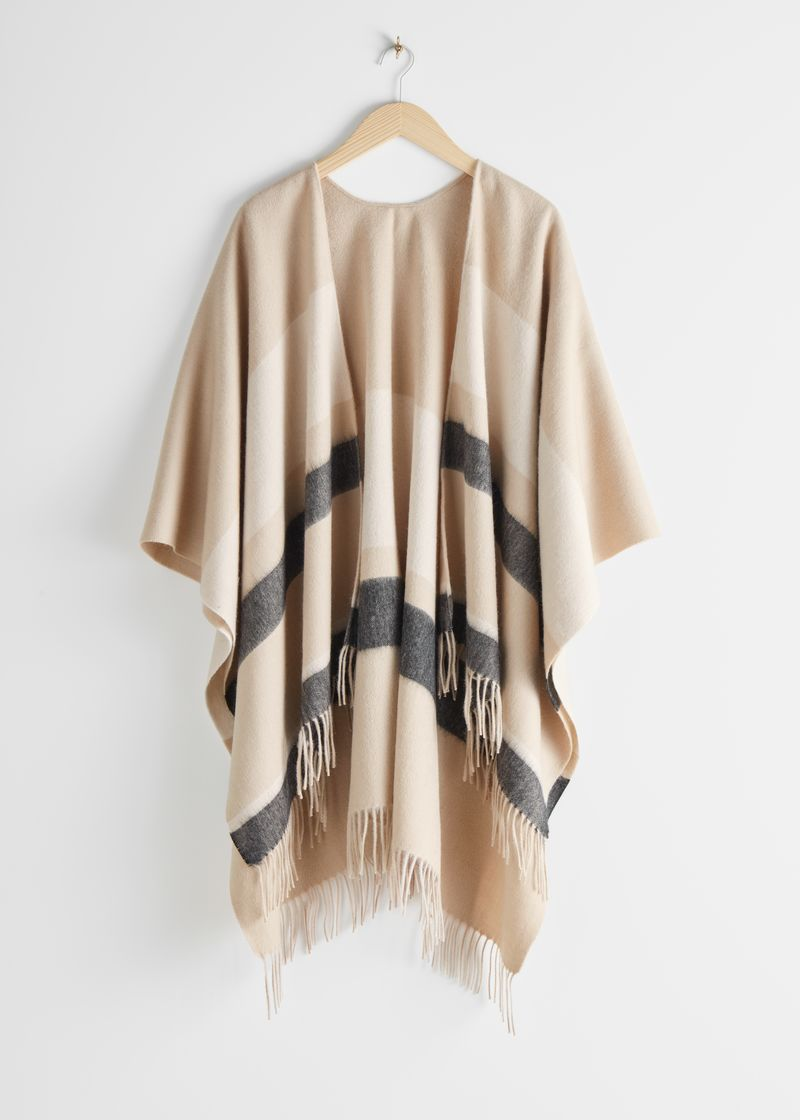 Striped Wool Fringed Poncho