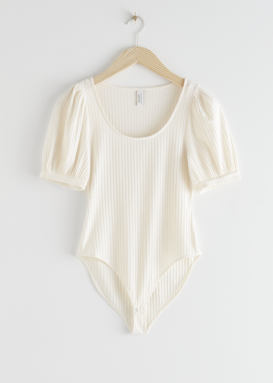 Wide Scoop Neck Ribbed Bodysuit