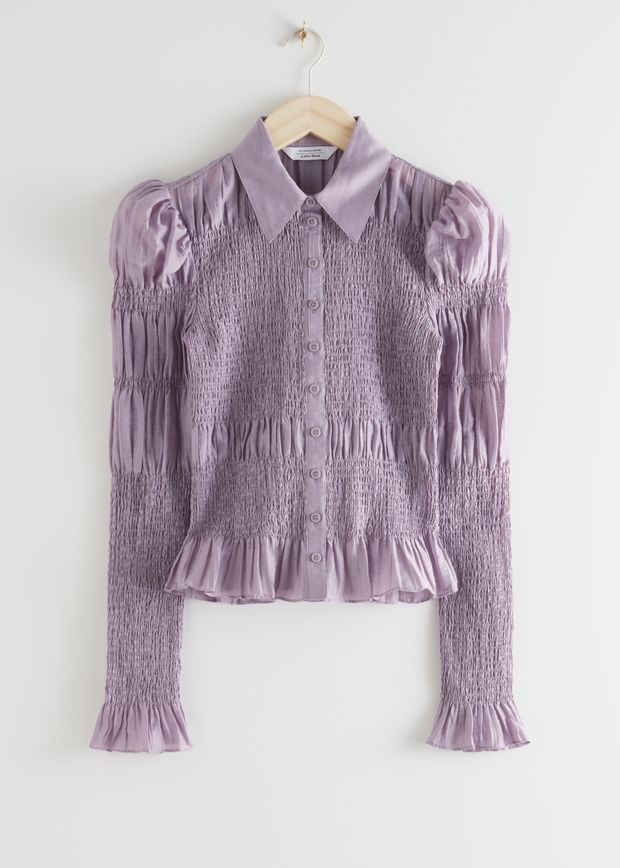 Fitted Smocked Shirt