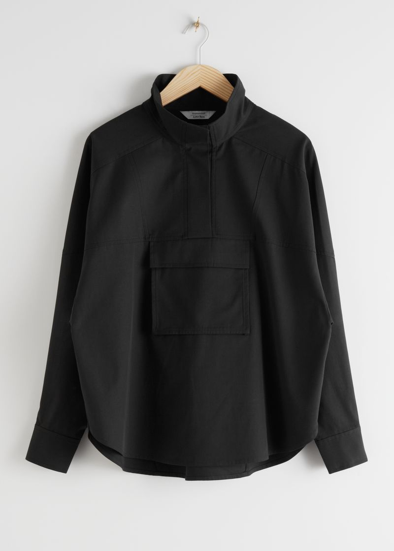 Funnel Neck Lyocell Blend Shirt
