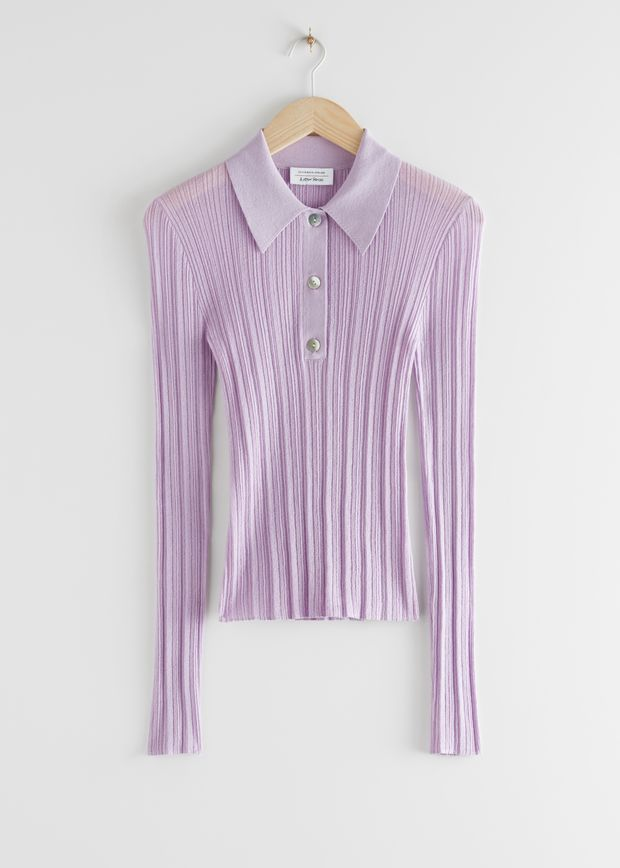 Sheer Fitted Polo Top