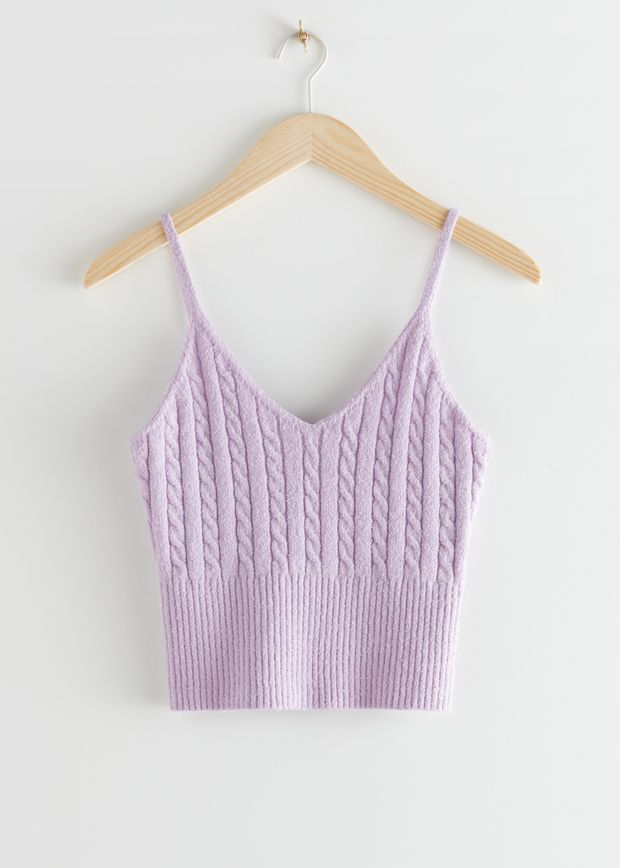 V-Neck Cable Knit Top