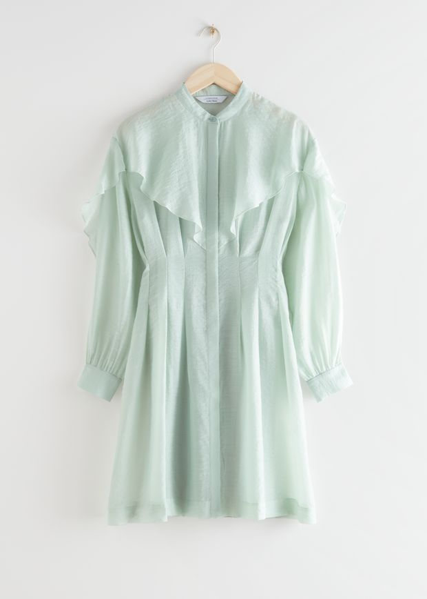 Voluminous Ruffled Bib Mini Dress Light Green Mini