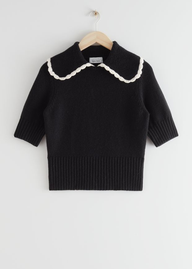 Wide Collar Wool Knit Sweater