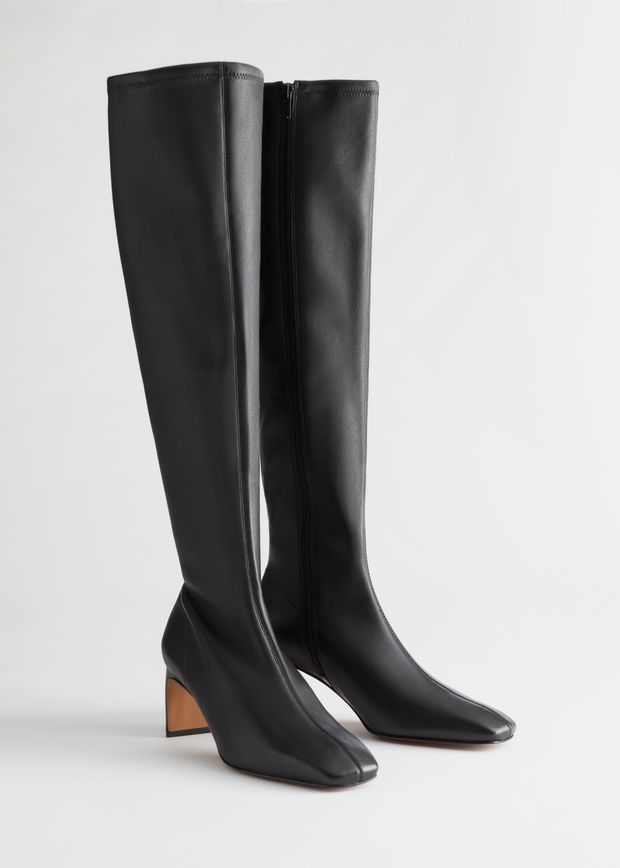 Tall Leather Sock Boots