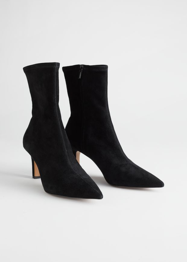 Pointed Suede Sock Boots