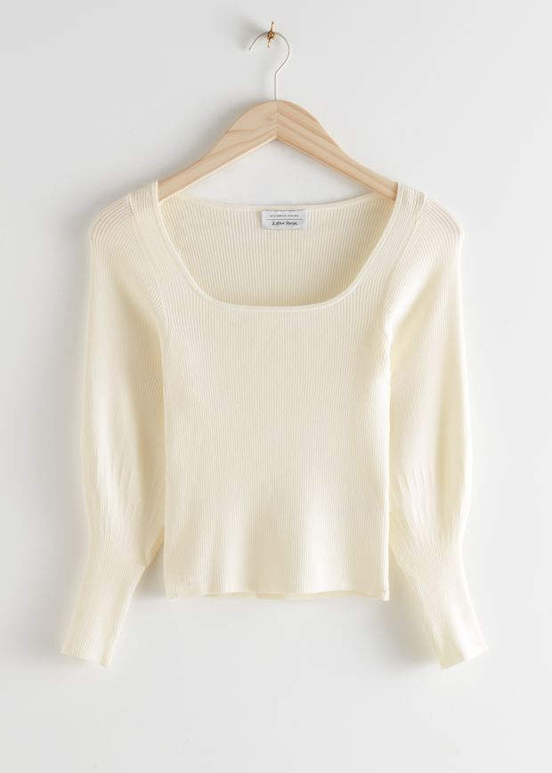 Fitted Square Neck Rib Knit Top