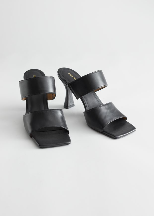Leather Flared Heel Sandalettes