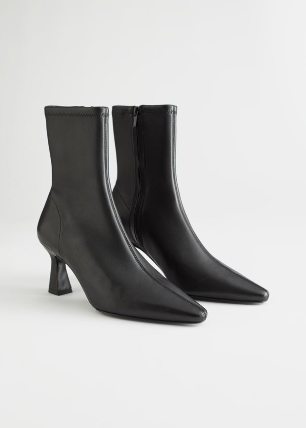 Flared Heel Leather Sock Boots