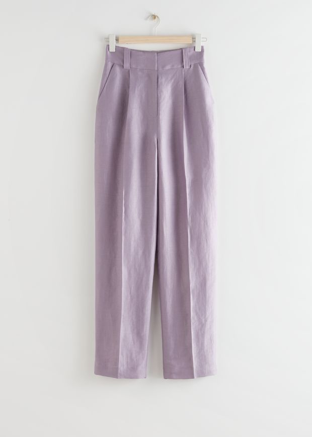 Wide Tailored Linen Blend Trousers