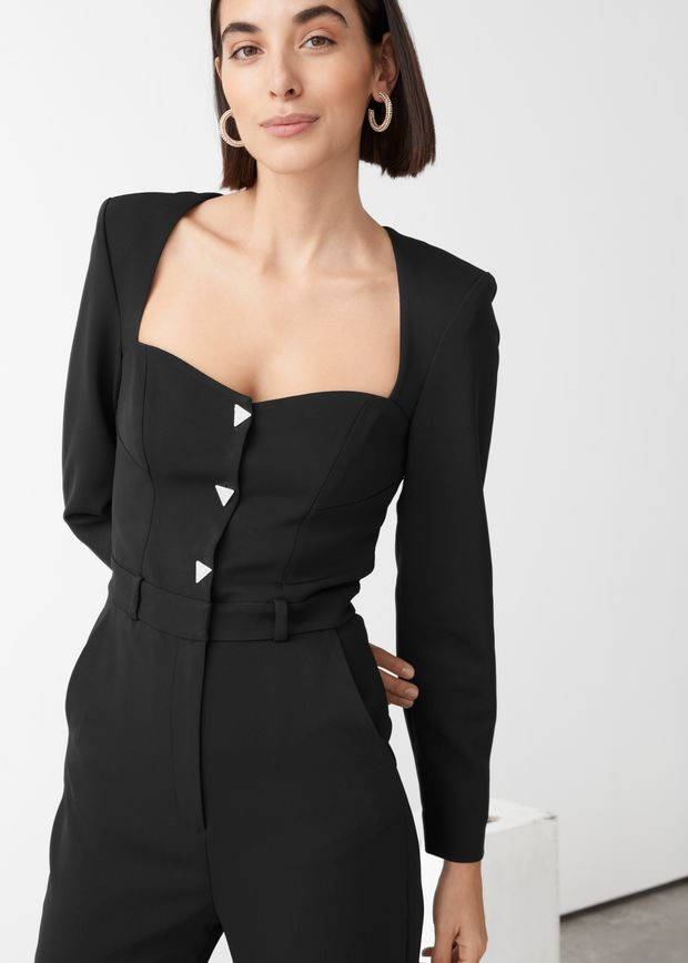 Padded Shoulder Sweetheart Neckline Jumpsuit