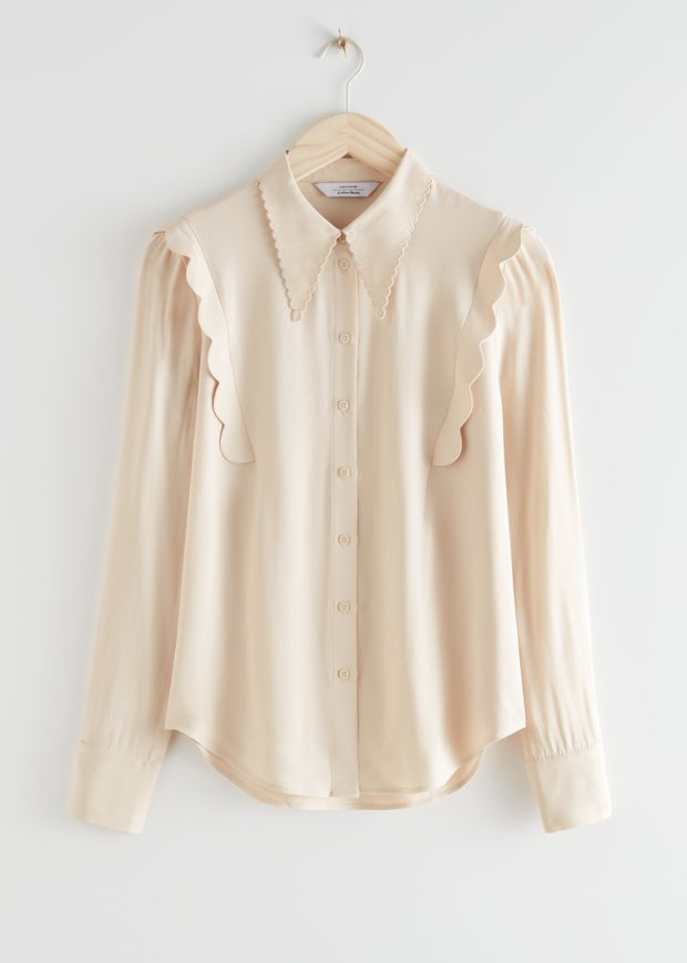 Scalloped Jacquard Shirt