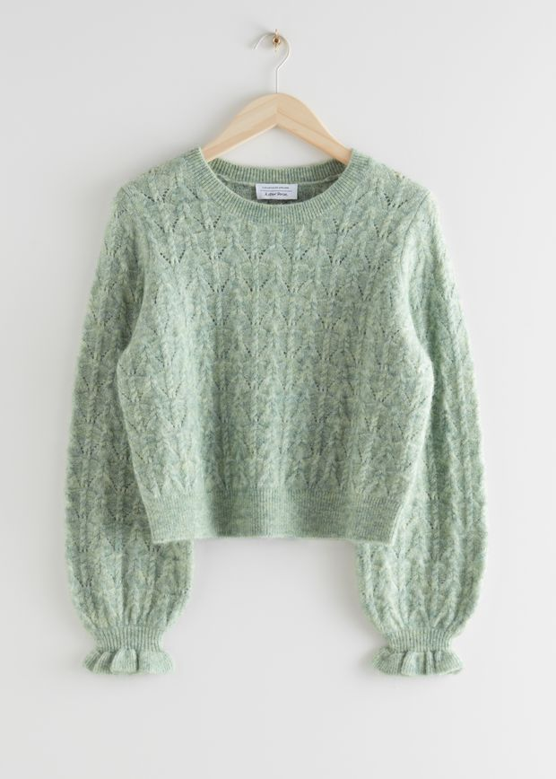 Alpaca Blend Ruffled Cable Knit Sweater