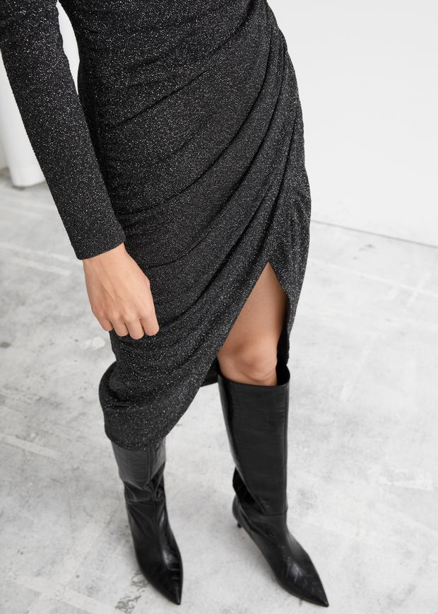 Draped Padded Shoulder Midi Turtleneck Dress