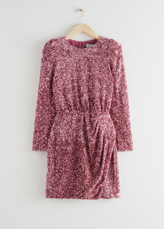 Padded Shoulder Sequin Dress