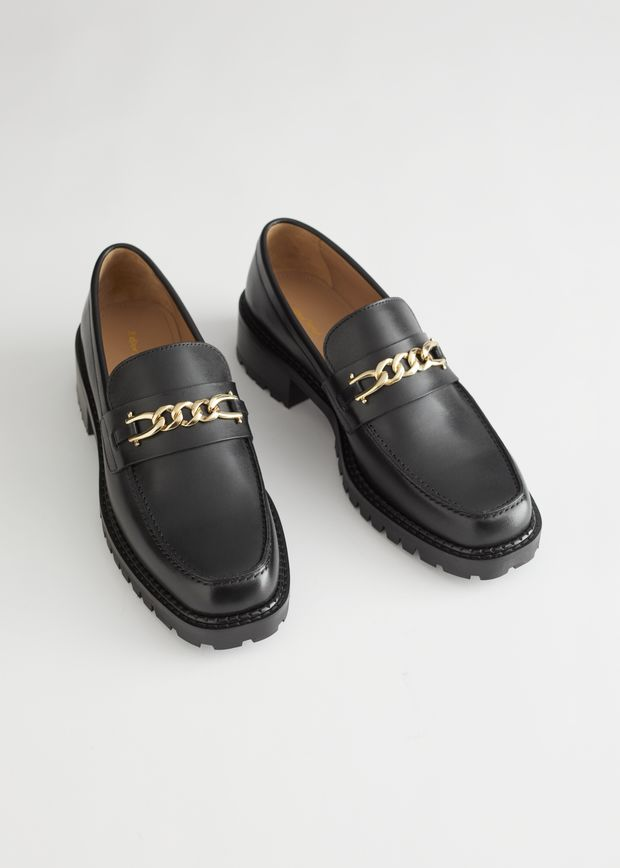 Rope Chain Leather Loafers